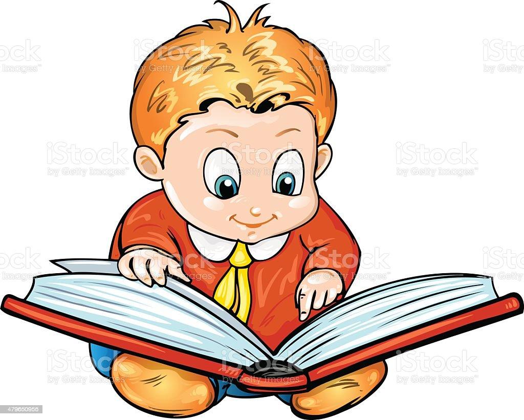 Dessin Anime Enfants Lire Un Livre De Vecteurs Libres De