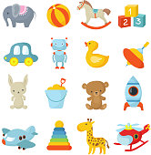 Cartoon children toys vector icons collection