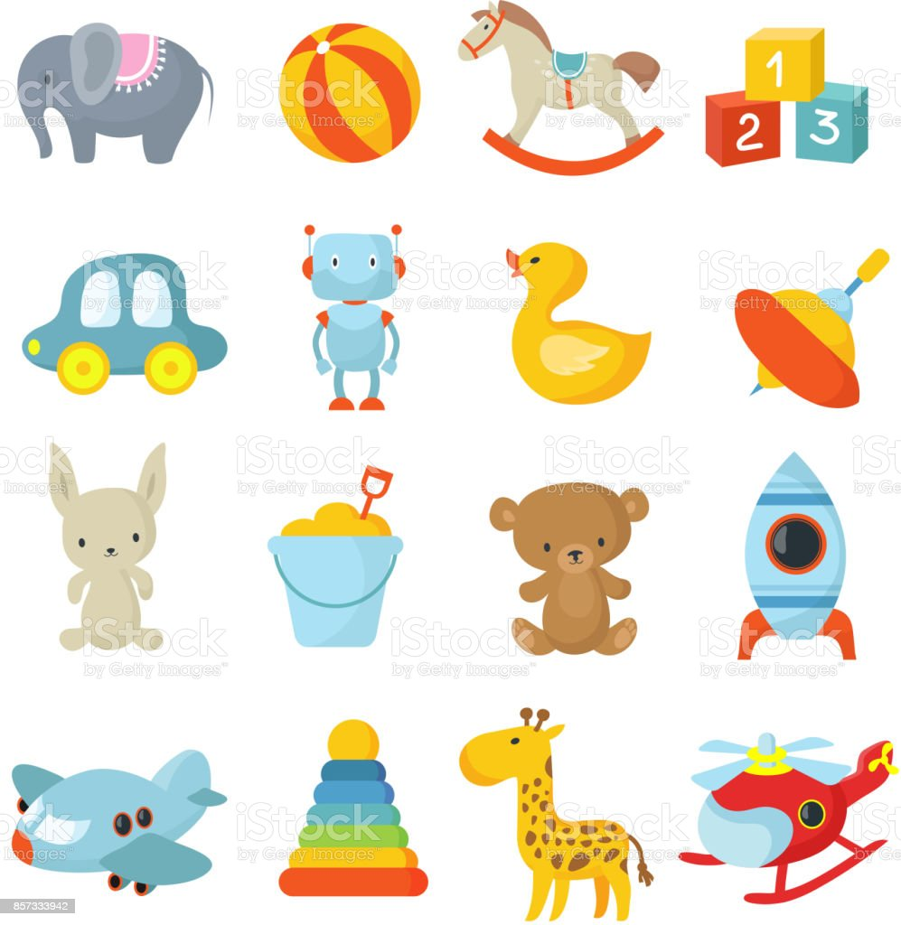 Cartoon children toys vector icons collection vector art illustration