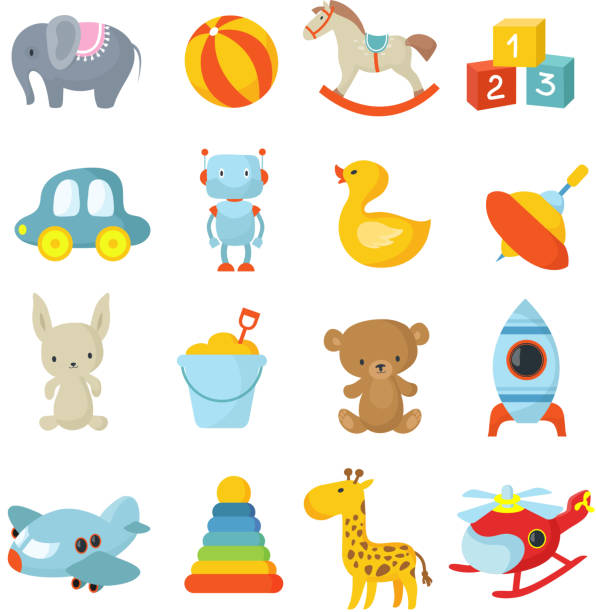 cartoon children toys vector icons collection - zabawka stock illustrations