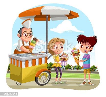 istock Cartoon children with big ice creams. 1266313543