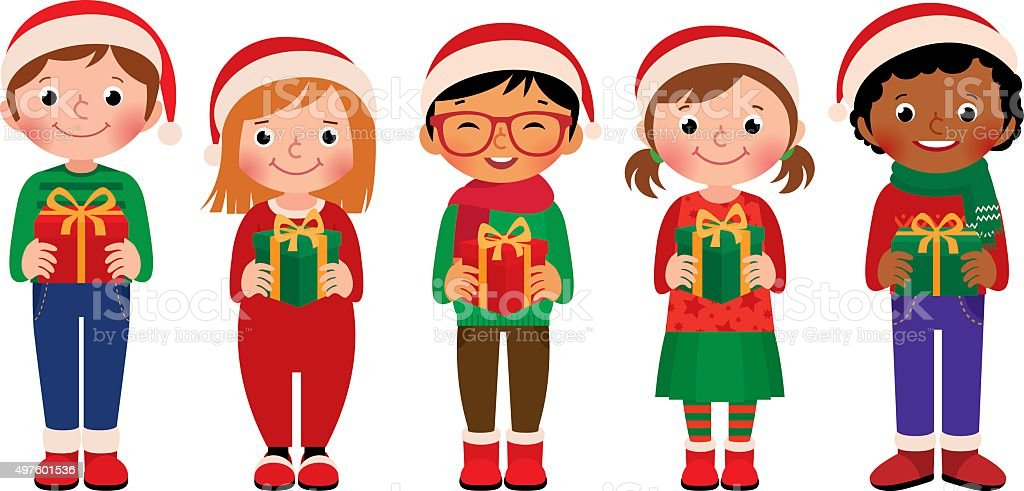 Cartoon Children With Christmas Gifts Isolated On White