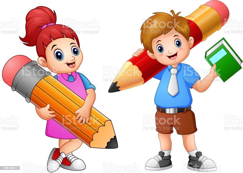 Ilustración De Para Niños De Dibujos Animados Sosteniendo Un Lápiz Y