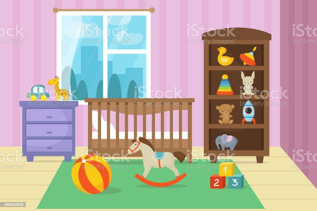 Cartoon childrens room interior with kid toys vector illustration vector art illustration