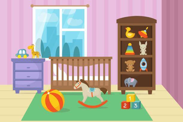 illustrazioni stock, clip art, cartoni animati e icone di tendenza di cartoon childrens room interior with kid toys vector illustration - bedroom