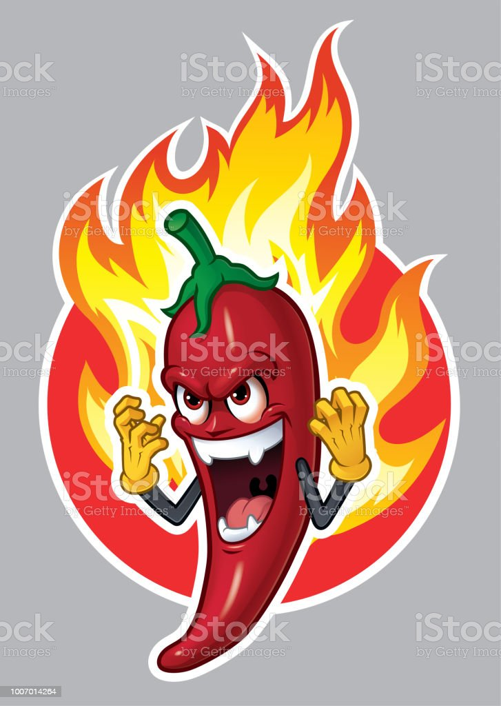 Comicfigur Chili mit Fire_Vector Illustration Eps 10 – Vektorgrafik