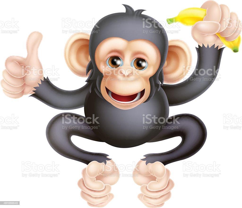 Cartoon Chimp Monkey With Banana vector art illustration