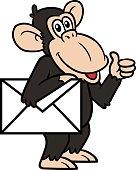 istock Cartoon Chimpanzee With Envelope Vector Illustration 643885122
