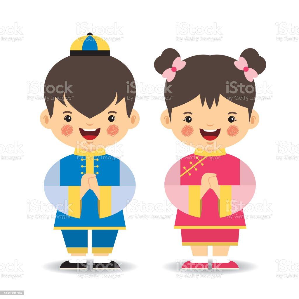 漫画の中国人の男の子と女の子 イラストレーションのベクターアート
