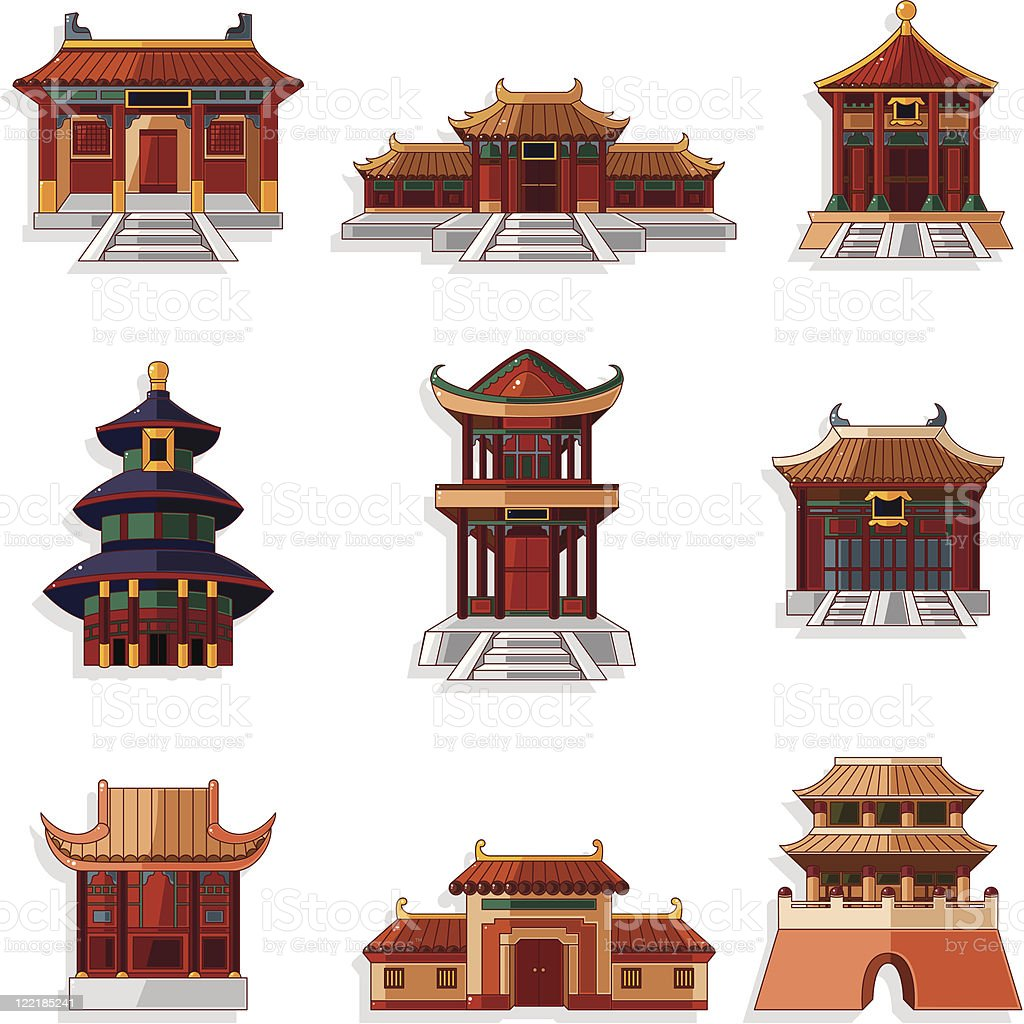 cartoon Chinese house icons set vector art illustration