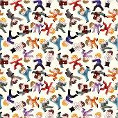 cartoon chinese Kung fu seamless pattern
