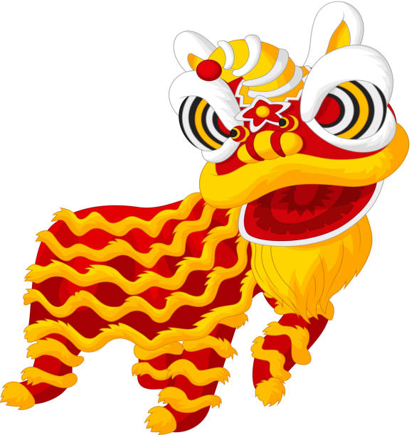 cartoon chinese lion dancing vector art illustration