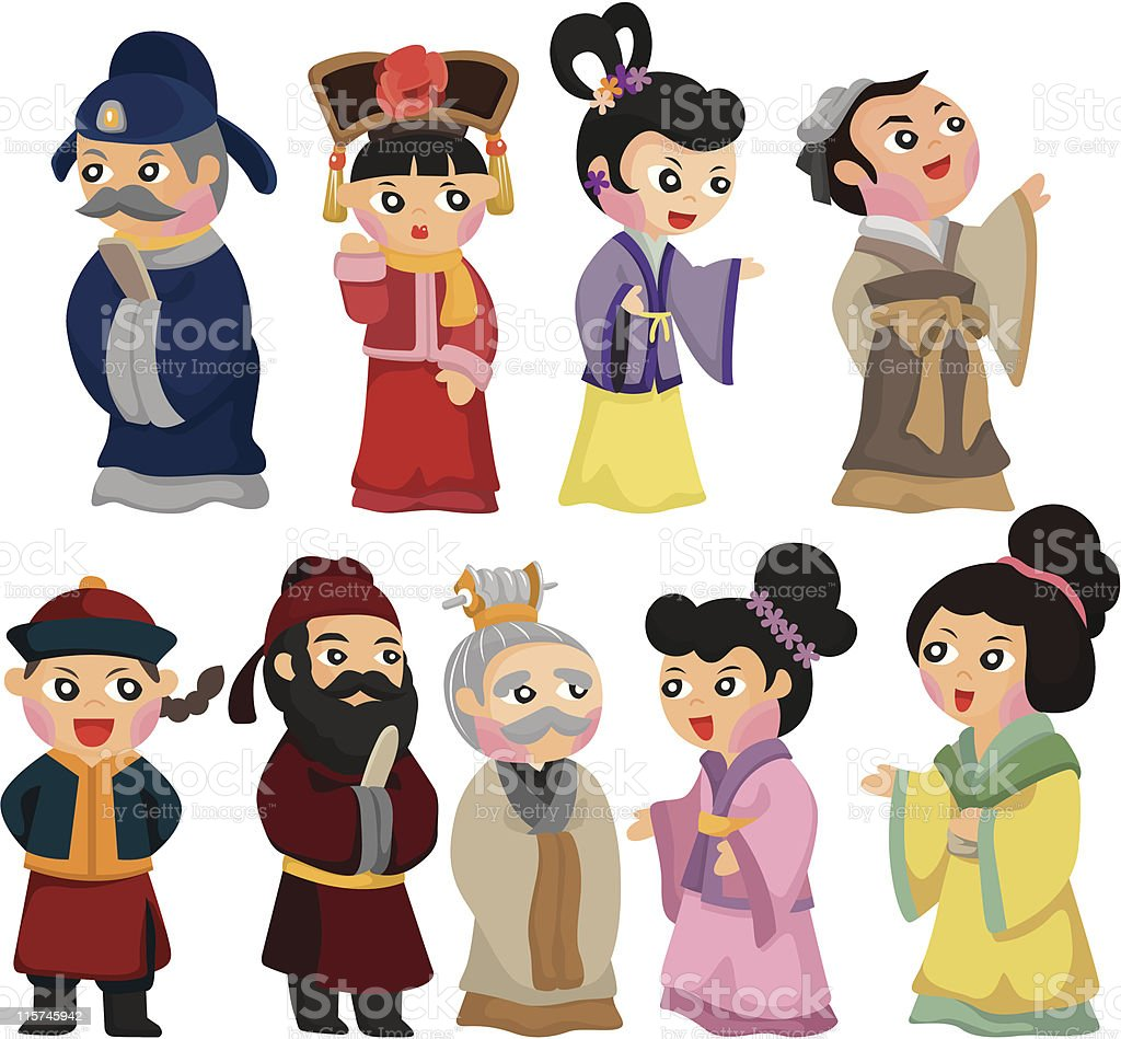 cartoon Chinese people icon set royalty-free stock vector art