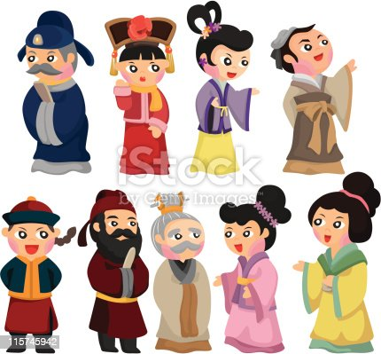 cartoon chinese people icon set stock vector art amp more