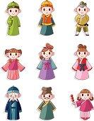 cartoon Chinese people icons set