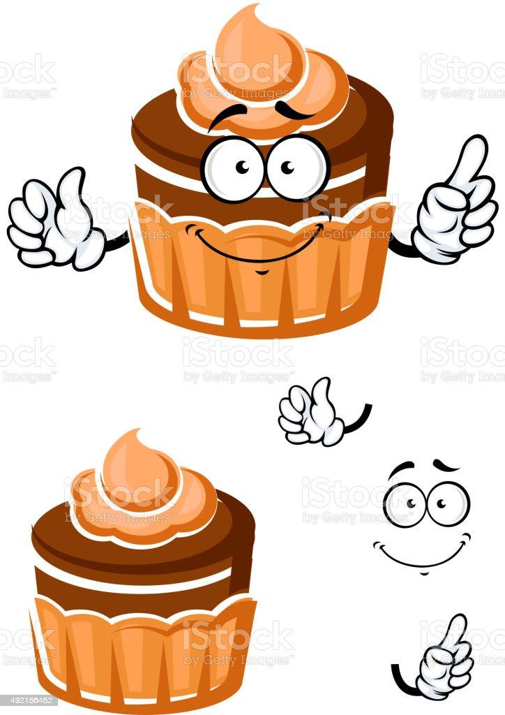 Dessin Anime Avec Gateau Creme De Caramel Au Chocolat Vecteurs