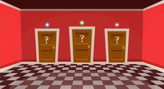 """Cartoon """"choose a door"""" concept. Empty room with three door in red style. Vector illustration"""