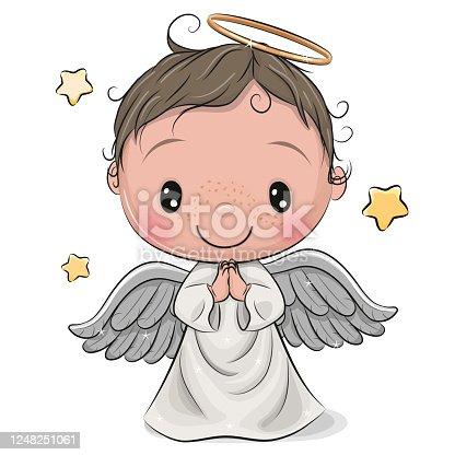 istock Cartoon Christmas angel boy isolated on white background 1248251061