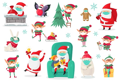 Cartoon christmas characters wearing medical masks. Santa, elves and animals in protect mask collection, antiviral protective measure, stop spread viruses and beware epidemic covid-19 vector set