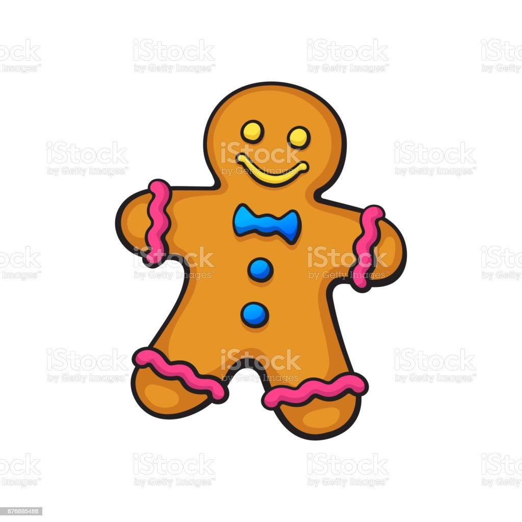 Cartoon Christmas Cookies Gingerbread Man Stock Illustration