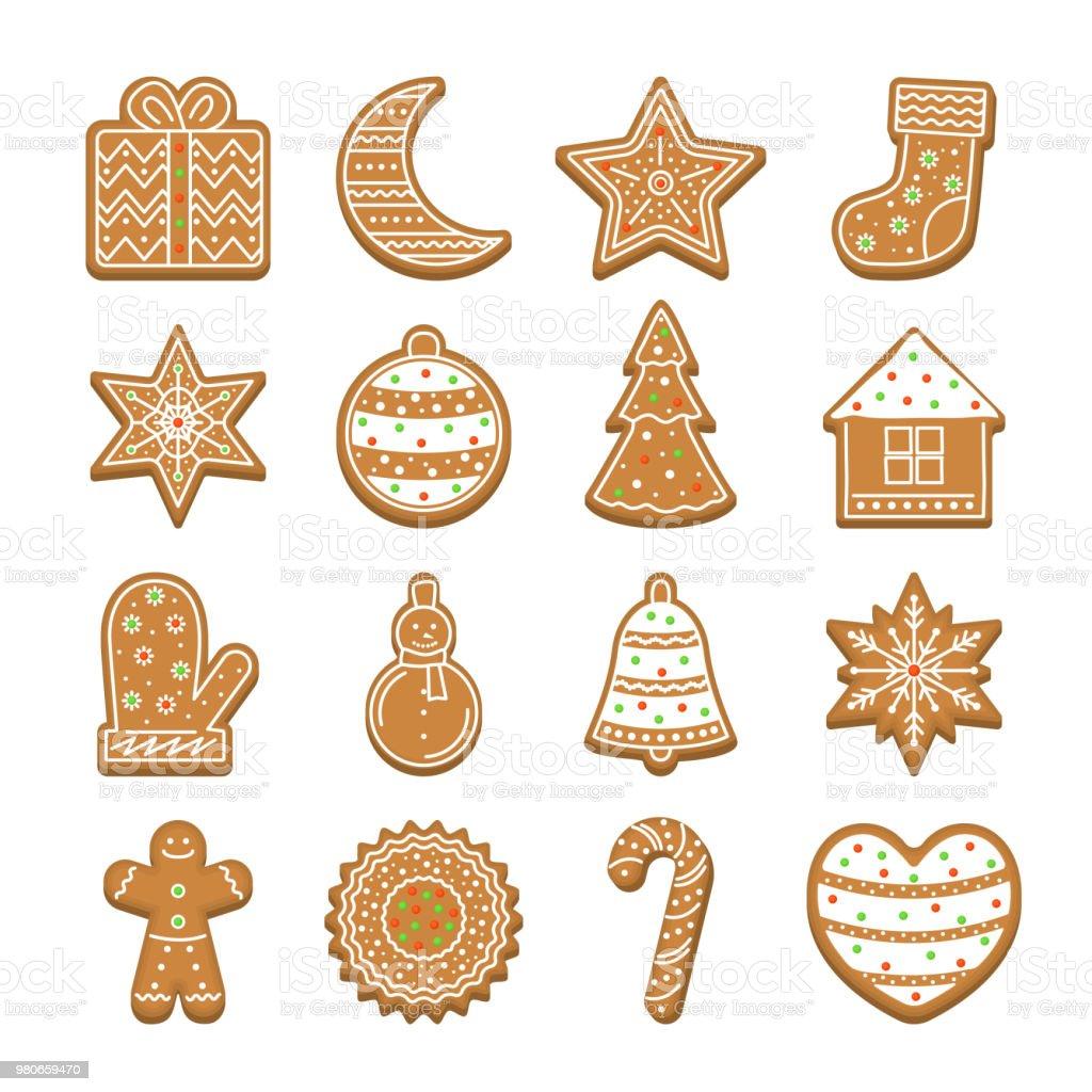 Imagenes De Galletas De Navidad Animadas.Ilustracion De Dibujos Animados Navidad Galletas Icon Set