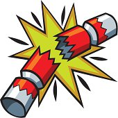 A bold and bright cartoon Christmas cracker exploding in a flash of light.
