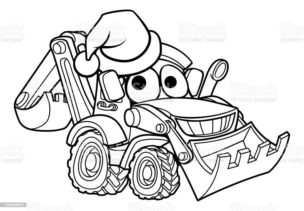 Dessin Anime Noel Pelle Bulldozer Vecteurs Libres De Droits Et Plus D Images Vectorielles De Blanc Istock