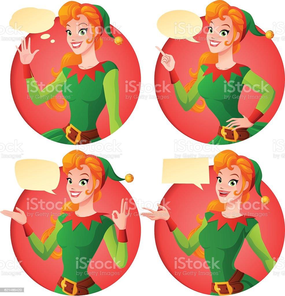 Cartoon Christmas elf girl in different poses. Vector set. cartoon christmas elf girl in different poses vector set – cliparts vectoriels et plus d'images de 1940-1949 libre de droits