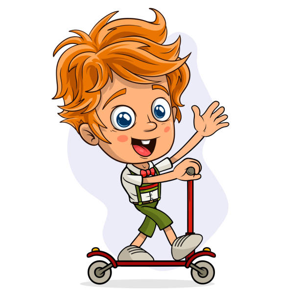 cartoon christmas elf showing riding kick scooter - redhead stock illustrations