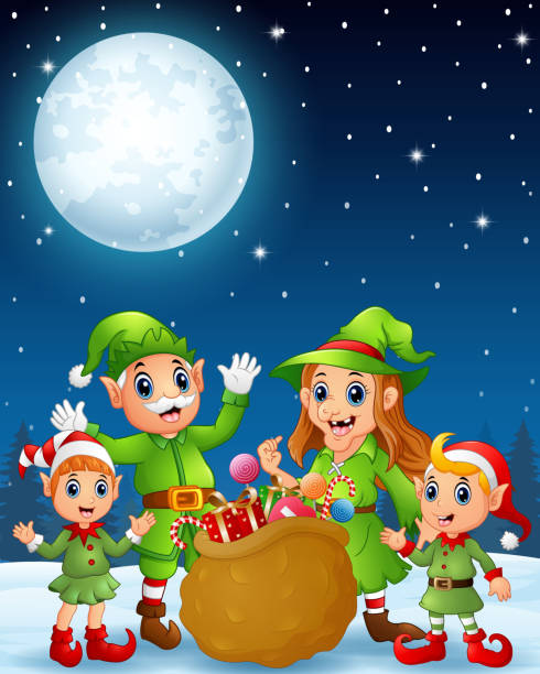 cartoon christmas elves - old man standing background stock illustrations, clip art, cartoons, & icons
