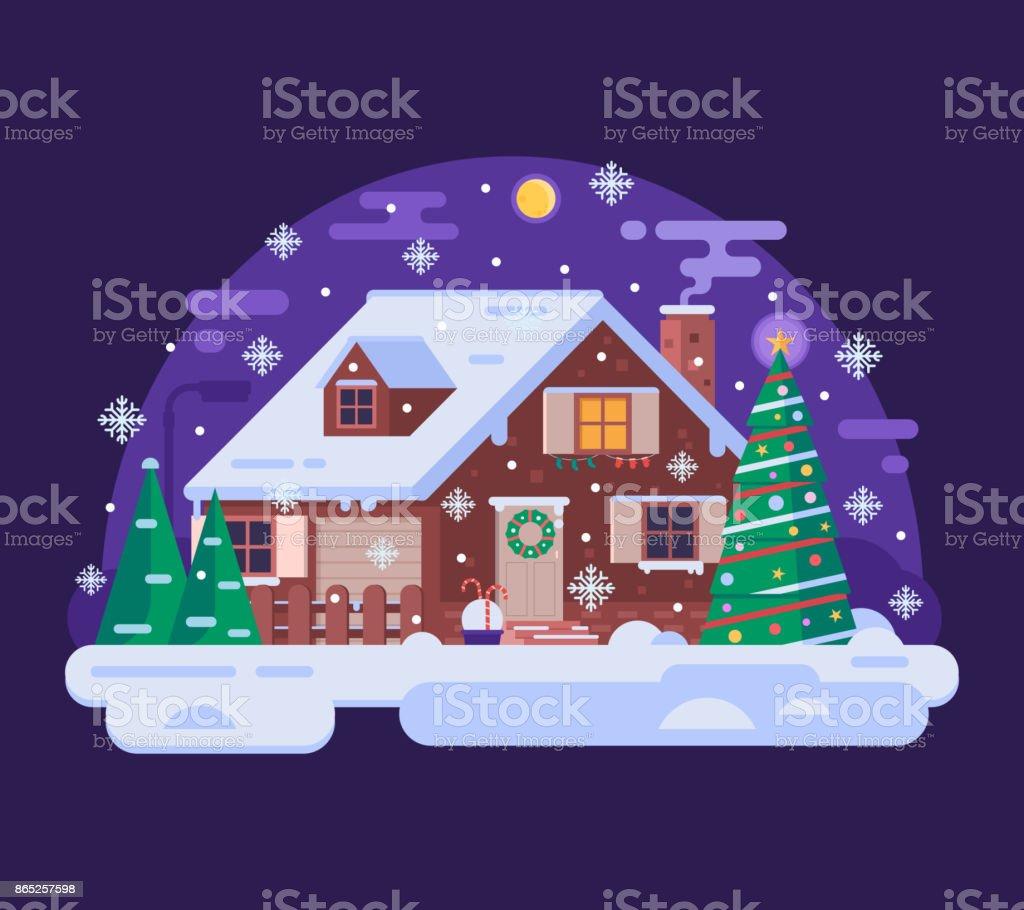 Maison de noël dessin animé par nuit dhiver neigeux maison de noël dessin animé