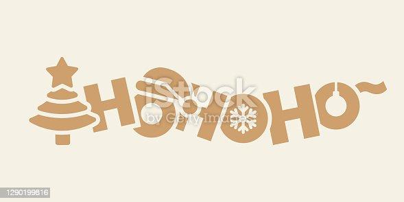 istock Cartoon Christmas lettering. Ho ho ho! 1290199816