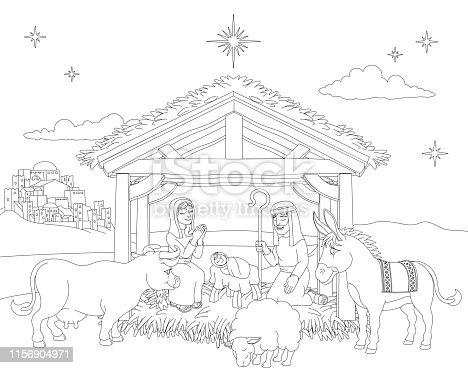 istock Cartoon Christmas Nativity Scene Coloring 1156904971