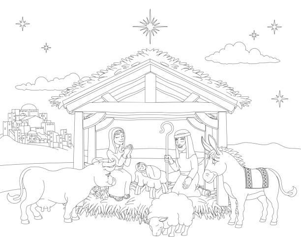 cartoon christmas nativity scene coloring - clip art of a black and white barn stock illustrations, clip art, cartoons, & icons