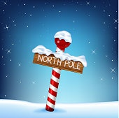 Illustration of  Christmas north pole wooden sign on sky background