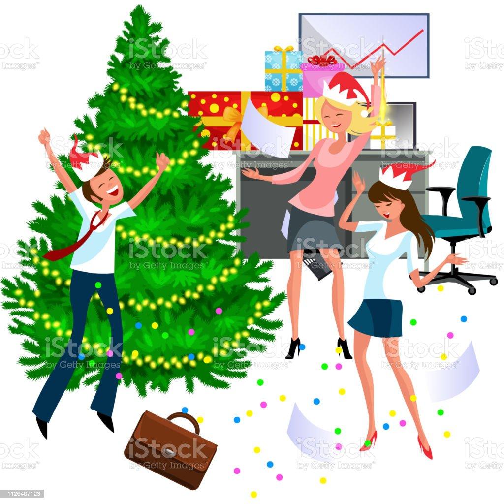 Weihnachtsfeier Cartoon.Cartoonweihnachtsfeier Bei Der Arbeit Im Büro Stock Vektor Art Und