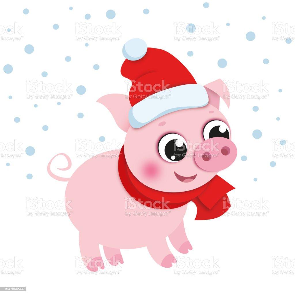 Christmas Pig.Cartoon Christmas Pig In Santas Hat Stock Illustration Download Image Now