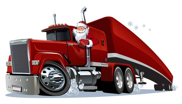 Cartoon Christmas semi truck Cartoon Christmas semi truck. Available eps-10 vector format separated by groups and layers for easy edit semi truck stock illustrations