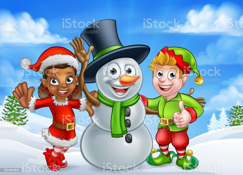 Cartoon Weihnachten Schneemann Und Elf Santas Helfer Stock Vektor ...