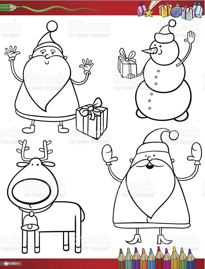 Page De Coloriage Thème De Noël Dessin Animé Cliparts Vectoriels