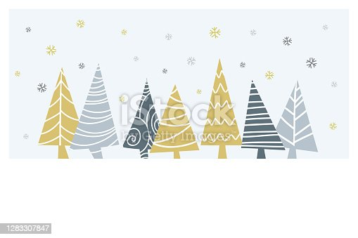 istock Cartoon Christmas tranquil scene with trees and Christmas ornaments and blank space for your message. 1283307847