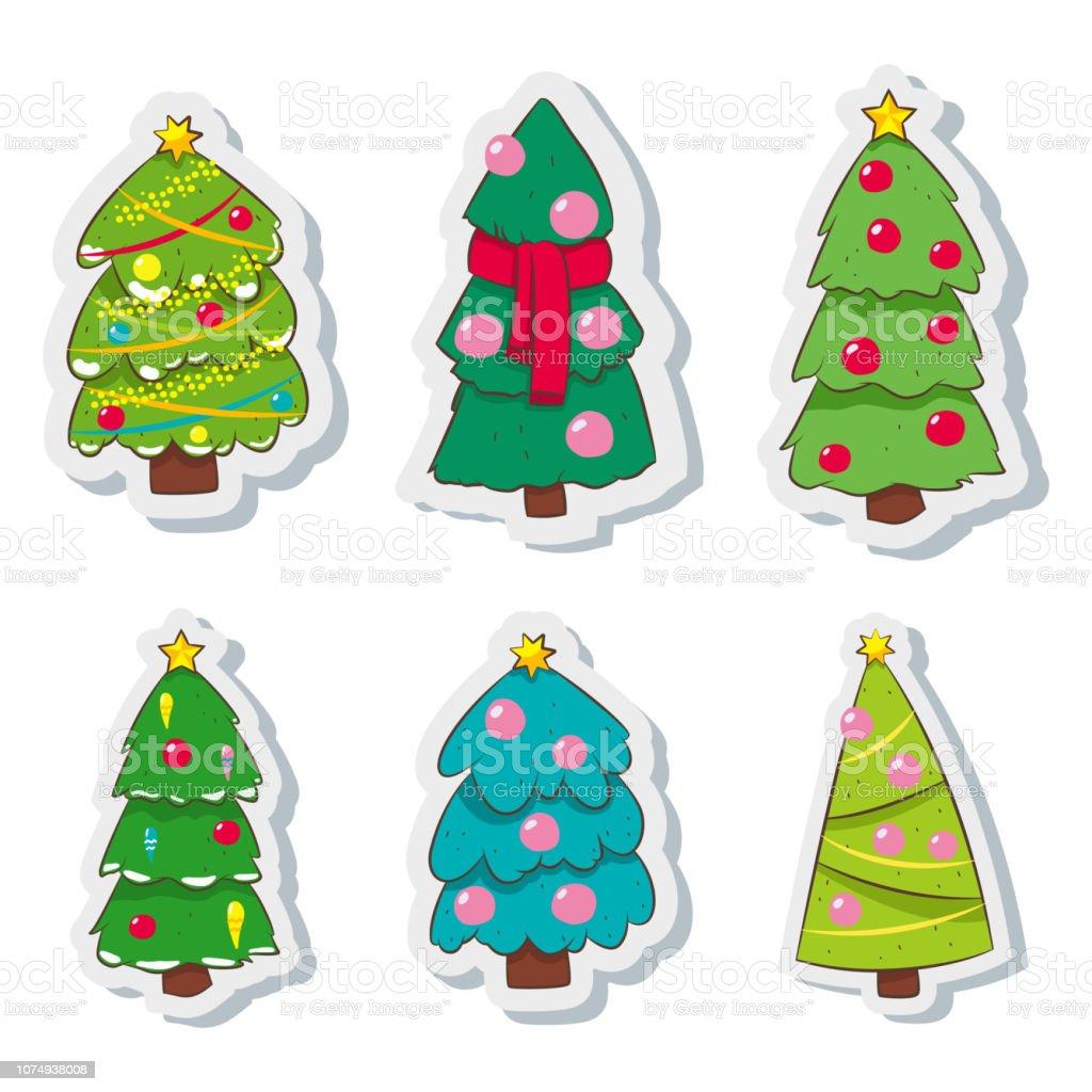 Vetores De Desenho De Arvore De Natal Decorada Bolas Coloridas