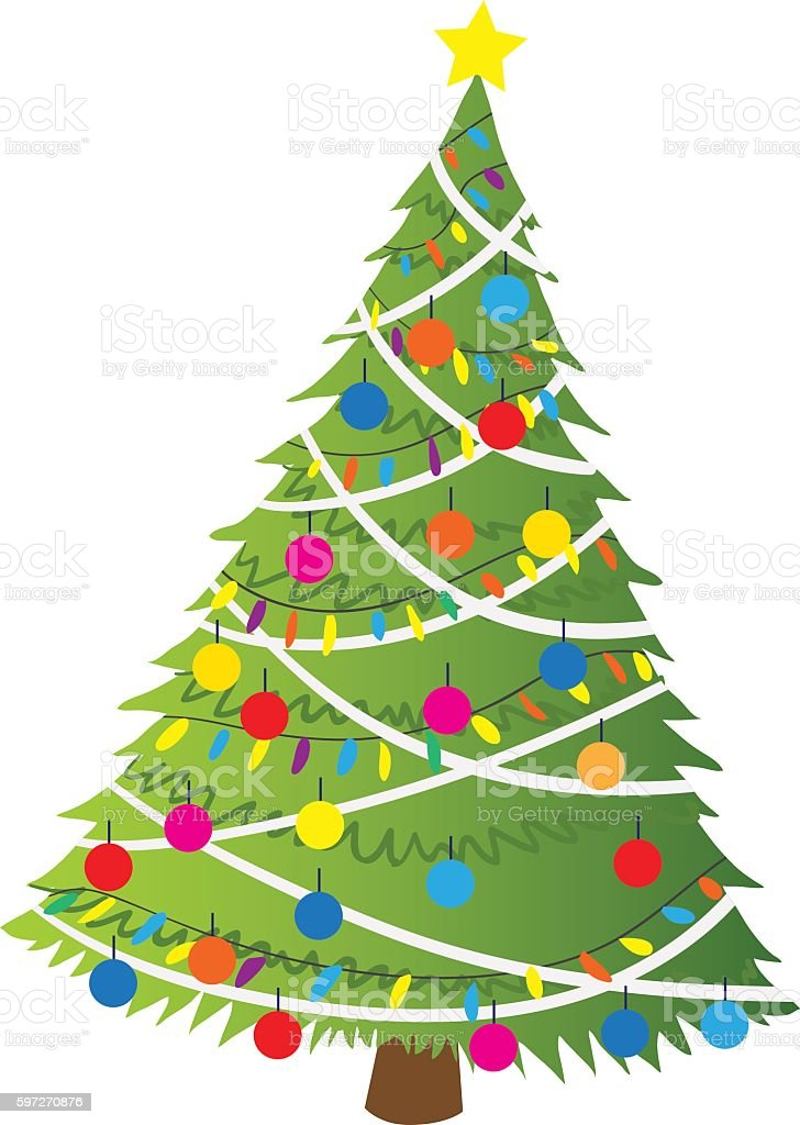 Cartoon christmas tree flat sticker icon. royalty-free cartoon christmas tree flat sticker icon stock vector art & more images of abstract