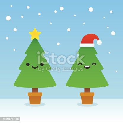 istock Cartoon Christmas trees 495921616