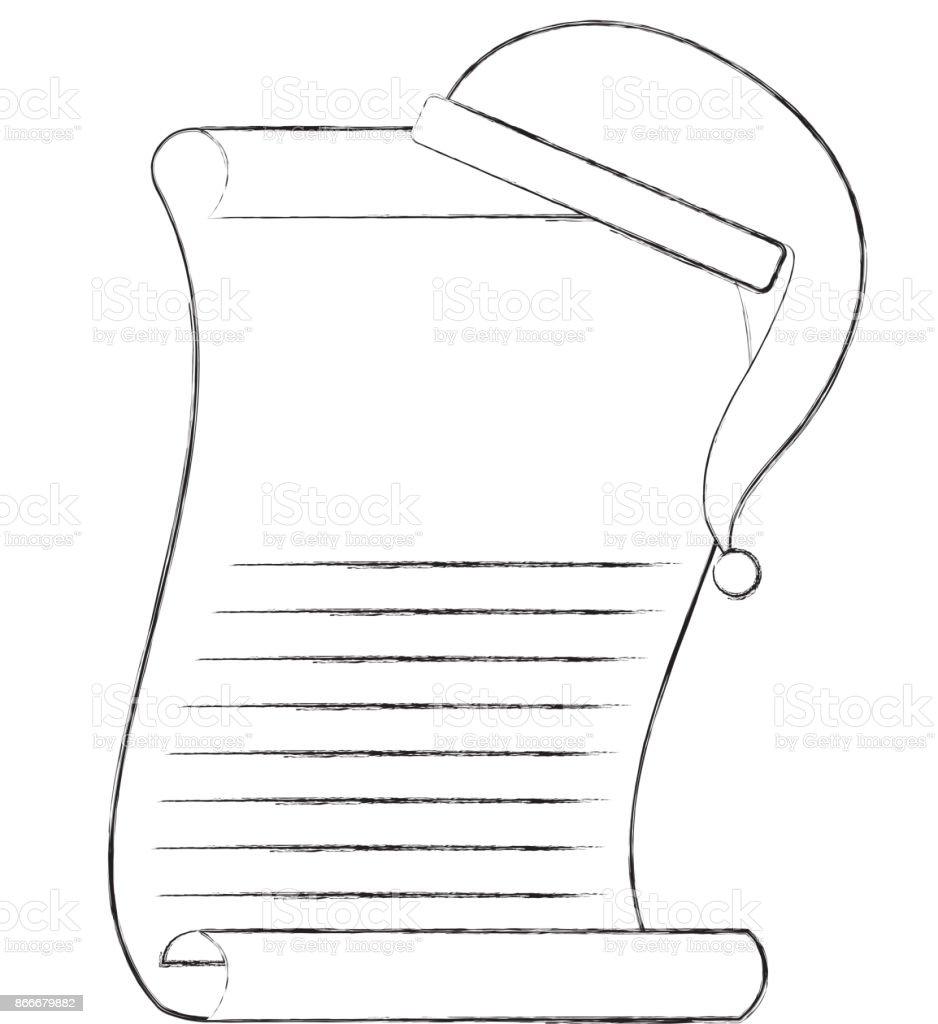 cartoon christmas wish list with christmas hat of santa claus