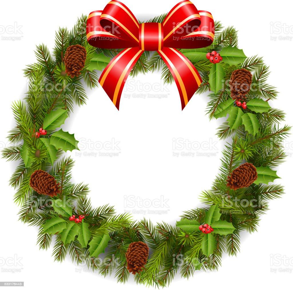 Cartoon christmas wreath with poinsettia flowers stock