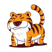 istock Cartoon chubby tiger with long tail mascot character 1329442998