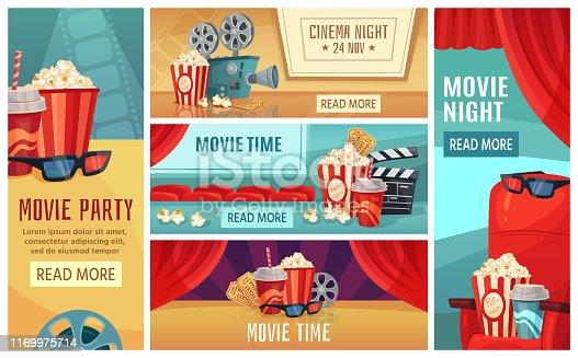 Cartoon cinema banner. Movie night tickets, cinemas popcorn and 3d film projector banners. Movies premier poster, ticket or retro invitation card vector illustration set