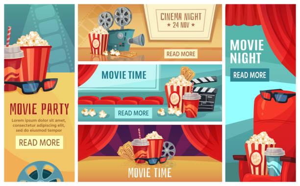 Cartoon cinema banner. Movie night tickets, cinemas popcorn and 3d film projector banners vector illustration set vector art illustration