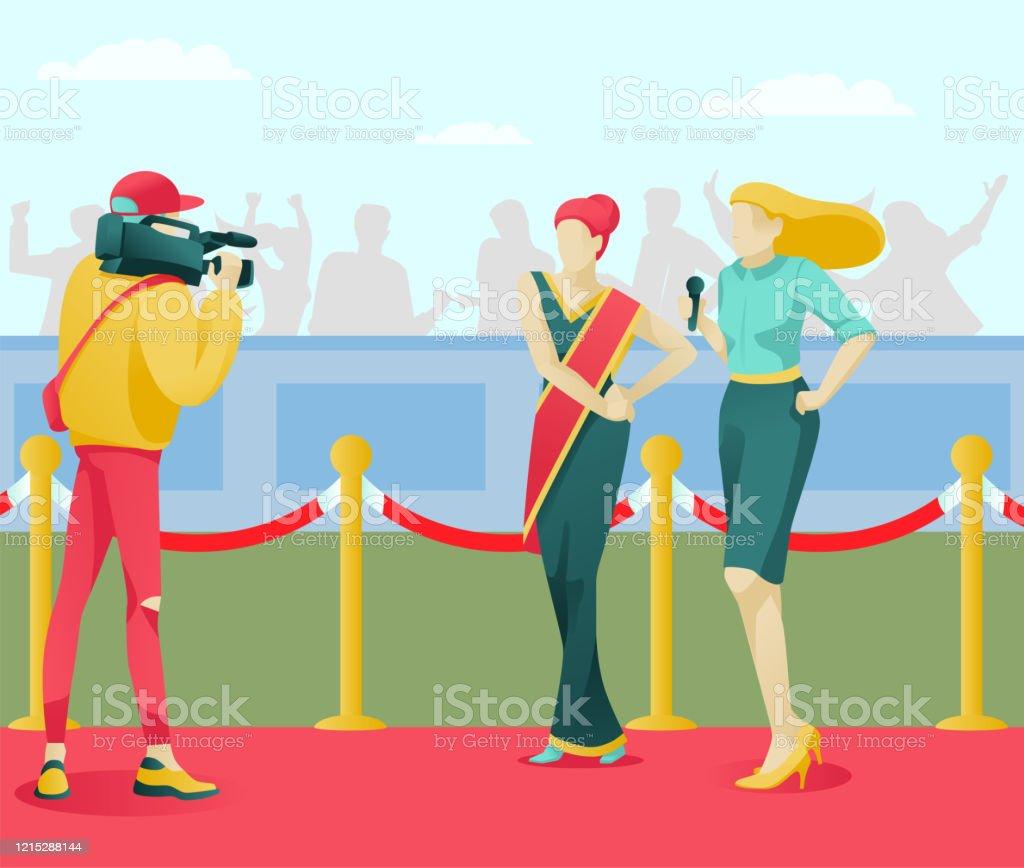 Cartoon Cinema Diva Star Character On Red Carpet Stock Illustration Download Image Now Istock